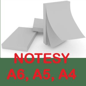 Notesy, bloczki klejone A6, A5, A4